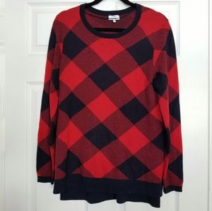 Crown and Ivy blue red plaid sweater medium
